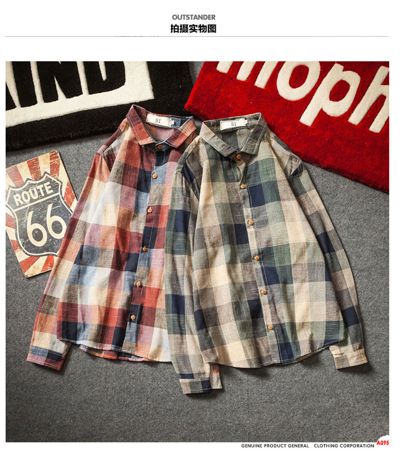 Check Shirts For Men Loose Men Button Up (3)