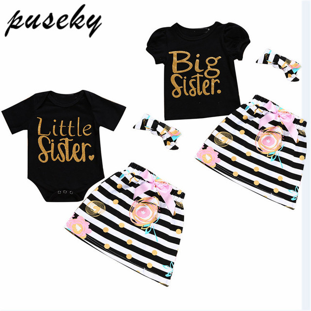 Big little SISTER Family Matching Outfits 2pcs Infant Toddler Baby Kid  Girls Romper T shirt Skirt Birthday twins Clothes 49e345fbe