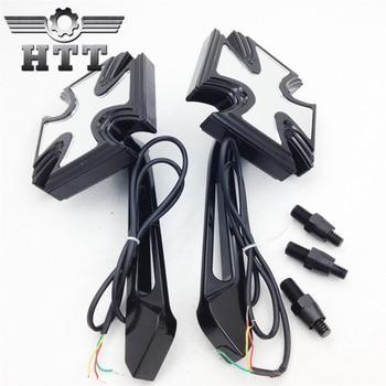 Aftermarket motorcycle parts Black Custom LED turn siganl integrated mirror fit Honda Kawasai Suzuki Yamaha