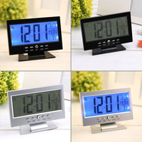 Voice Control Backlight LCD Alarm Clock Weather Monitor Calendar With Thermometer Desk Clock