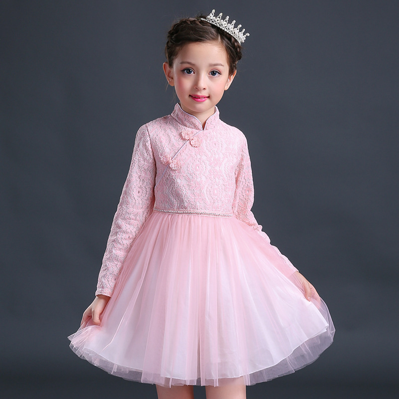 Chinese Style Long Sleeve Girl Lace Tutu Dress 2017 New Autumn Winter Dresses Children Clothing Princess Dress Girls Clothes