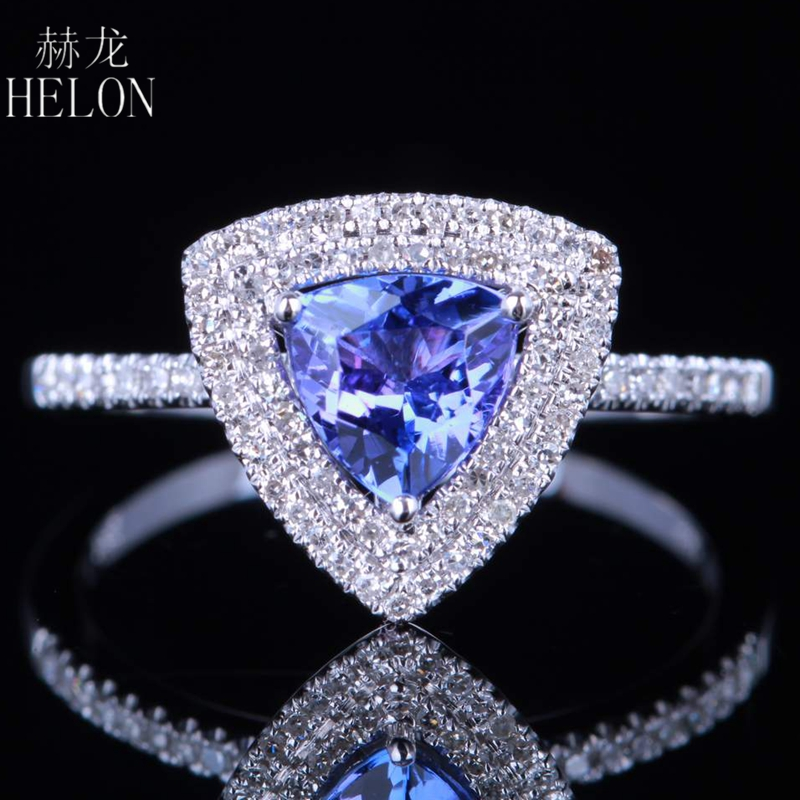 HELON Solid 14K (AU585) White Gold Trillion 0.75CT Genuine Tanzanite Diamonds Engagement Wedding Ring Women Party Trendy JewelryHELON Solid 14K (AU585) White Gold Trillion 0.75CT Genuine Tanzanite Diamonds Engagement Wedding Ring Women Party Trendy Jewelry