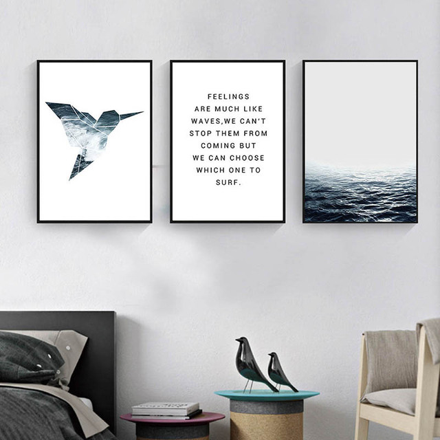 GZCJHP Tropical Sea Bird Motivational Wall Art Canvas Nordic Posters Prints  Landscape Painting Wall Pictures For