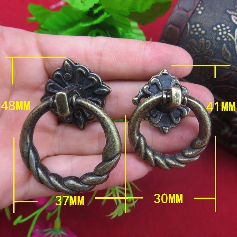 Vintage Alloy Cabinet Handles Furniture Knobs Kitchen Drawer Cupboard Chinese Ring Pull Handles,Bronze Tone,8Pcs