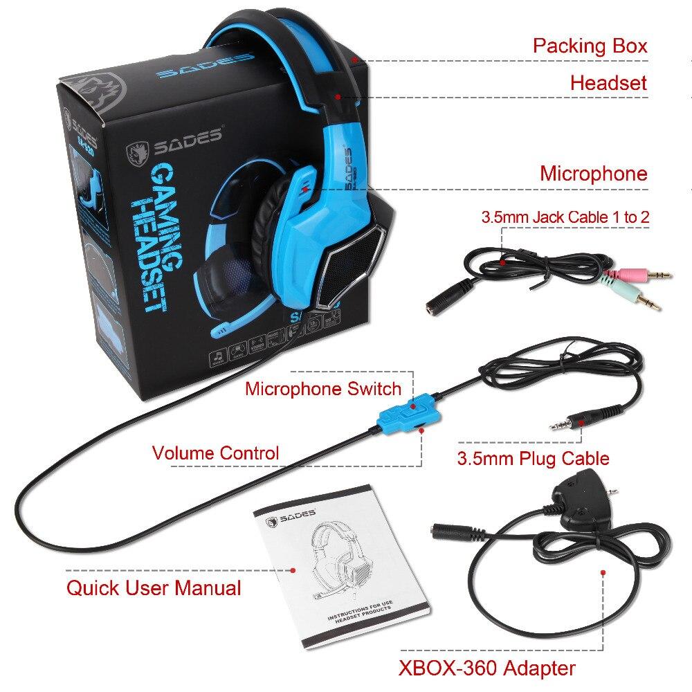 Sades SA-920 Stereo Gaming Kõrvaklapid kõrva juhtmega mängu - Kaasaskantav audio ja video - Foto 6