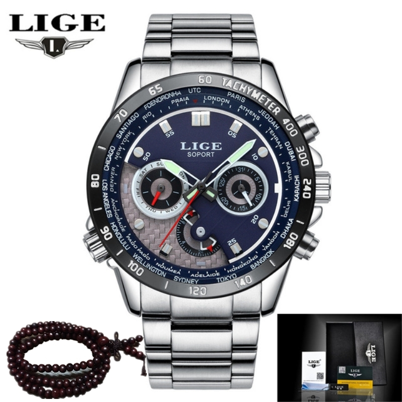 LIGE Brand Quartz Military Sport Watch Men Luxury Fashion Casual Watches Mens Wristwatch Army Clock Full Steel Relogio Masculino weide new men quartz casual watch army military sports watch waterproof back light men watches alarm clock multiple time zone