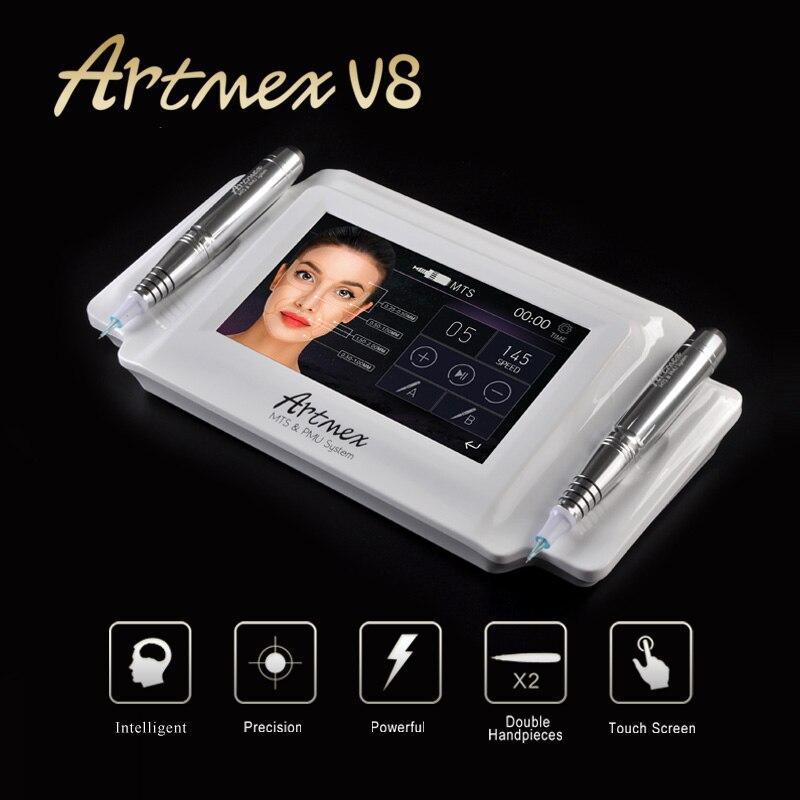 Artmex V8 Tatuagem Maquiagem Permanente Máquina Pen Sobrancelha Make Up & Lip Rotary Tattoo Machine MTS Sistema PMU Motor Forte caneta Arma