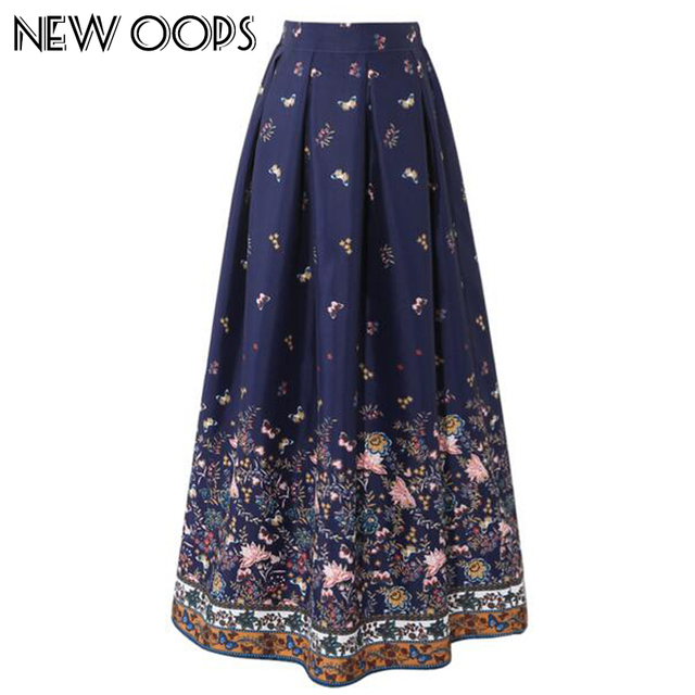 dedde377a NEW OOPS Women 100cm High Waist Maxi Skirts Vintage Floral Printed Pleated  Floor-Length Long