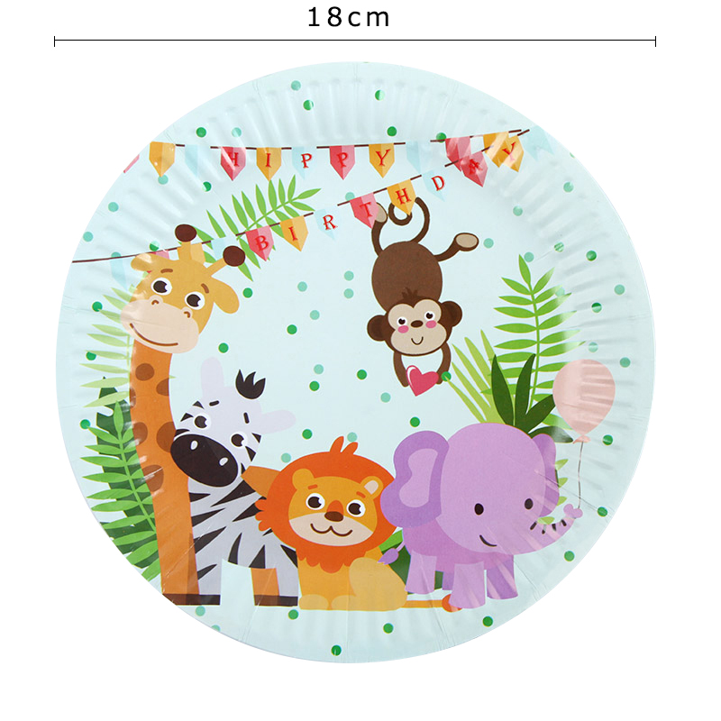 90Pcs Lot Jungle Animal Theme Birthday Party Decorations Kids Disposable Party Tableware Baby Shower Party Supplies in Disposable Party Tableware from Home Garden