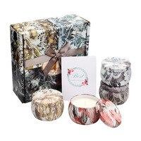 4pcs/lot Elegant Tin Natural Plant Soybean Wax Aromatherapy Candle Gift Box Set Smoke free Birthday mother's day wedding gift