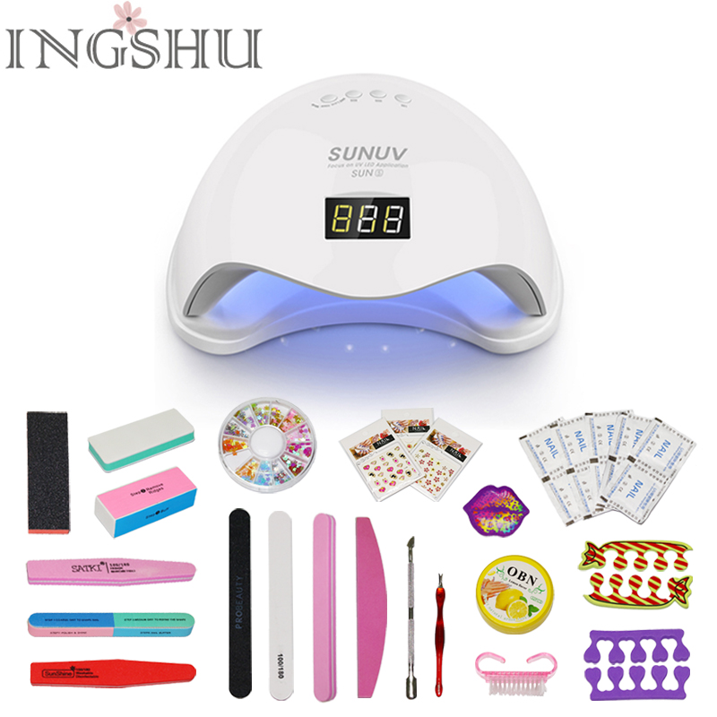 INGSHU SUN5 48W Dual LED UV Lamp Professional Nail Dryer With Bottom Curing Nail Tools for All UV Gel Nail Polish Smart Sensing