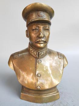 Chinese pure brass Military strategist combat hero statue
