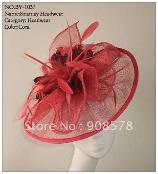 Party Fascinator Sinamay Base With Feather hat  BY-1037 30pcs/lot