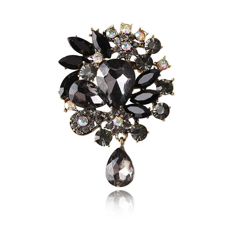 6 цветов выбрать кристалл цветок большой длинный кулон Броши на булавке винтажные Броши для женщин модные ювелирные изделия пальто булавки