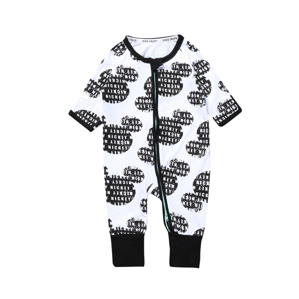 Kids Tales new born baby clothes o-neck cartoon one piece   rompers   with zipper baby FALL costume for 0-24M baby boy girl pajamas