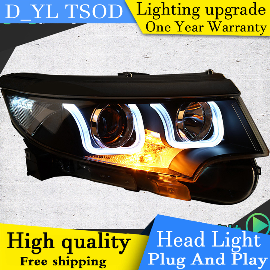 Auto part styling for ford edge headlights drl 2012 2014 led light bar angel eye