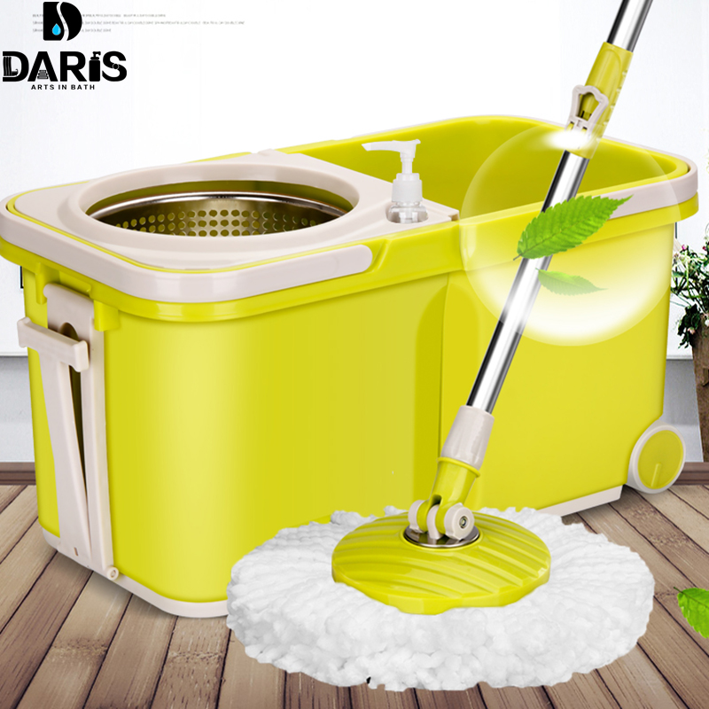 SDARISB A Set Spining Magic Mop With Bucket Easy Microfiber Mop Rotating Mop Head For Housekeeper Household Floor Cleaning Set