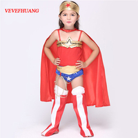 VEVEFHUANG Wonder Woman Cosplay Halloween Superhero Girls Costume Deluxe Child Dawn Of Justice Princess Diana Fancy