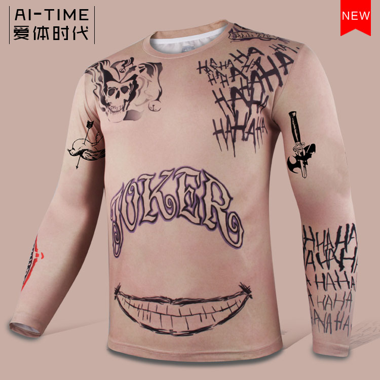 Movie Batman Suicide Squad Joker Jared Leto Long Sleeve shirt Outfit Halloween Cosplay Costume Comic-con Men