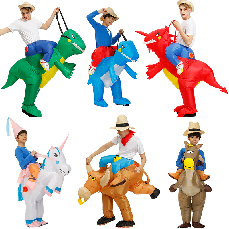 Kids Inflatable Dinosaur Costume Cosplay Unicorn T-REX Clothing Halloween Costumes For Women Men Adult Fantasia Party Jumpsuit