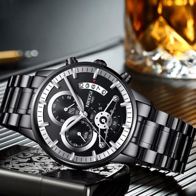 NIBOSI Rose Gold Mens Watches Top Brand Luxury Relogio Masculino Quartz Watch Men Clock Waterproof Sports Watch Erkek kol saati 4
