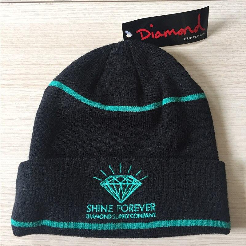 New Diamond Skateboard Caps Cotton Knitted Hat Cool Hip Pop Cap Elastic Men Women Cool Street Style Headgear