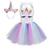 Kids Girls Cartoon Unicorn Cosplay Dress Flowers Sparkly Sequins Mesh Tutu Dress with Hair Hoop Halloween Party Costume Dress Up