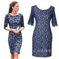 Princesa kate middleton vestido azul 2014 elegent floral sweetheart novedad ntage envios 50 s vestidos encaje dresscasual vestidosladies wi
