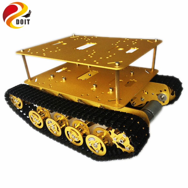 Original DOIT Double Decker Damping Robot Tank Car Chassis TS100 from DIY Crawler Tracked Model Robotic Experiment Functional original doit double decker damping robot tank car chassis ts100 from diy crawler tracked model robotic experiment functional
