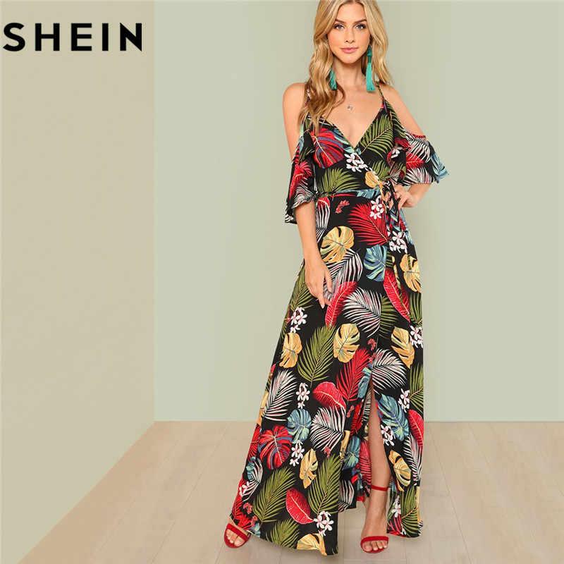 12c9fb29599 SHEIN Summer Boho Floral Print Sexy Deep V Neck Open Shoulder Maxi Dress  Women Beach Vacation
