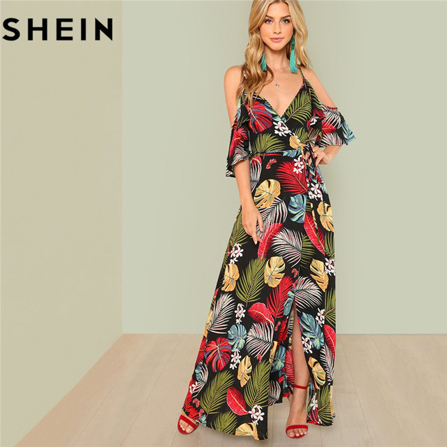 df955bfdda SHEIN Summer Boho Floral Print Sexy Deep V Neck Open Shoulder Maxi Dress  Women Beach Vacation High Waist Surplice Wrap Dresses