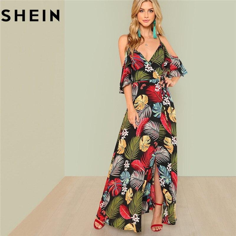 SHEIN verano Boho Floral estampado Sexy profundo cuello en V abierto hombro Maxi Vestido de playa para mujer vacaciones alta cintura Surplice Wrap vestidos