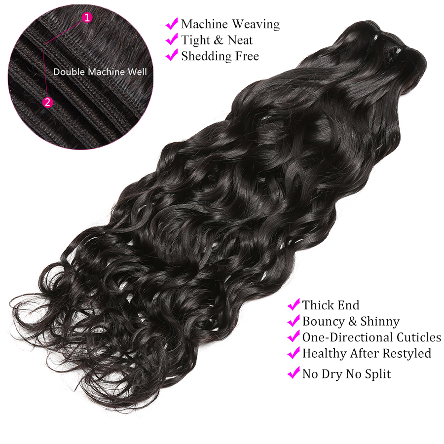 1 3 4 Bundles Brazilian Hair Water Wave Human Hair Bundles Deals Alipop Remy Hair Extensions 8-28 Inch Bundles Natural Black  (2)