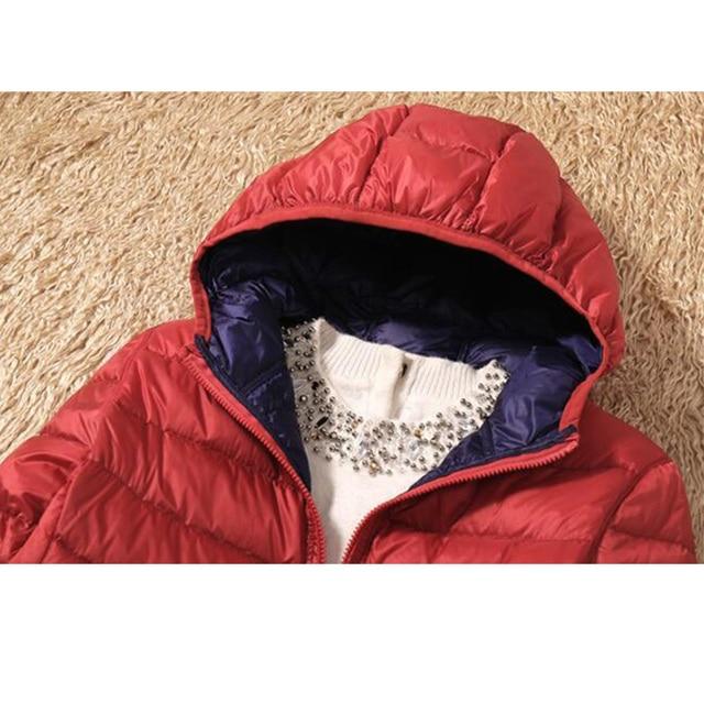 SEDUTMO Winter Duck Down Coat Women Ultra Light Hooded Jackets Two Side Wear Coat Spring Puffer Jacket ED602 5