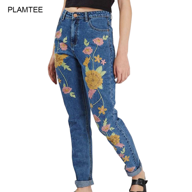 Slim Fit Womens Jeans with Flower Embroidery Vaqueros Mujer New 2017 Fashion Ladies Harem Denim Pants Casual Mid Waist Jeans S-L