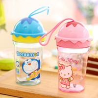Cute 250ml Cartoon Children Kids Ice Cream Cups Plastic Drink Readily Cup Space Cup Portable