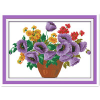 Plant Flower Series Purple Potted Cross Stitch Kit 11CT 14CT Complete Needle Thread Embroidered Cloth Drawing