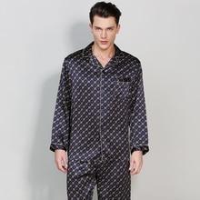 Мужские шелковые пижамы sets2017 плюс Размеры пижамы человек шелковые пижамы Наборы для ухода за кожей длинный рукав пижамы 2 шт. шелк Домашняя одежда Для мужчин Комплекты пижам