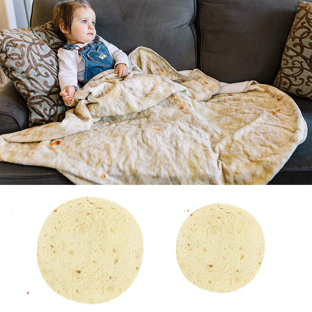Food Throw Flour Tortilla Throw Round Blanket Novelty Blanket Adult/Kids Round Beach Bed Blanket for All Season Bed,Chair,Couch