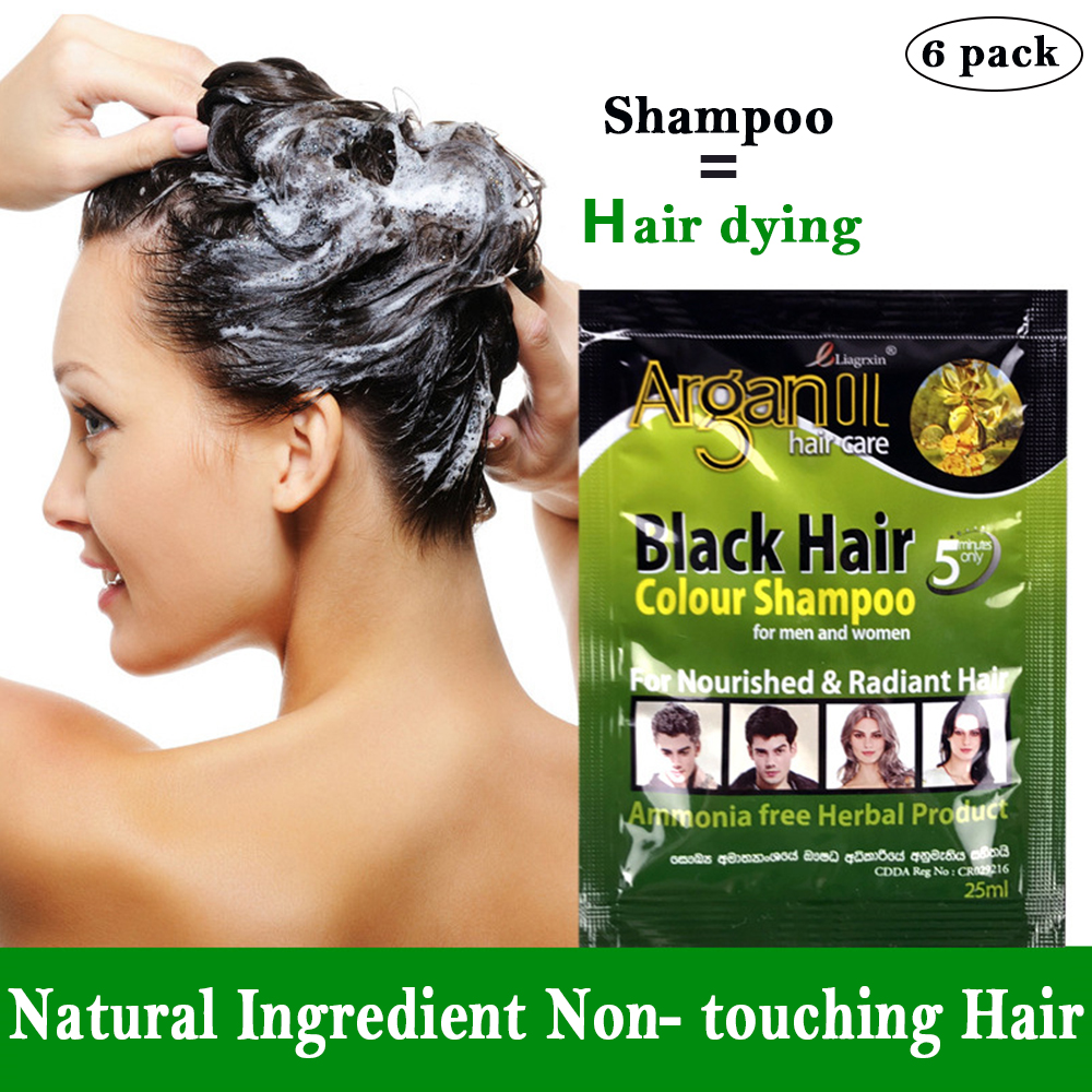 6 pcs Black Hair Shampoo Grey Hair Removal Dye White Become Black Hair Coloring for Men and Women
