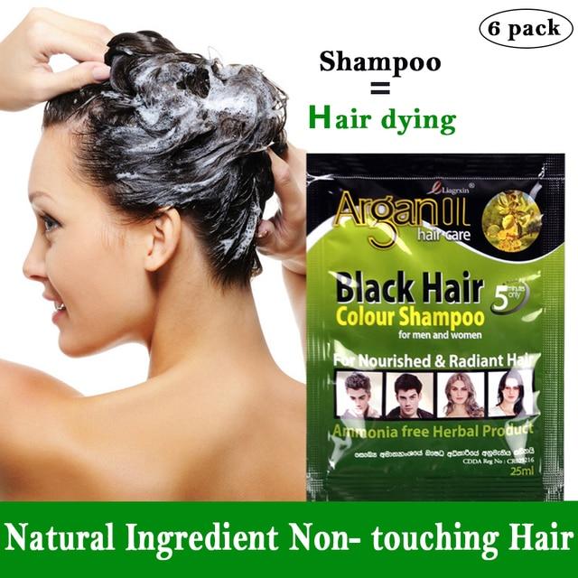 6 Pcs Black Hair Shampoo Grey Hair Removal Dye White Become Black