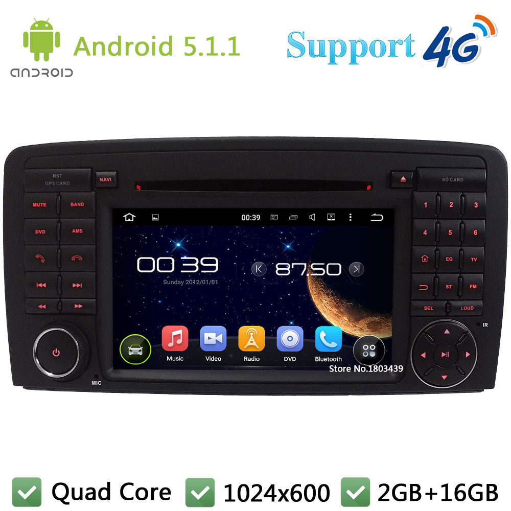 Quad Core 1024*600 Android 5.1.1 Car DVD Player Radio Stereo 3G/4G GPS Map DAB+ For Benz R-Class W251 W280 W300 W320 W350 W500