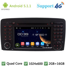 Quad Core 1024*600 Android 5.1.1 reproductor de DVD del coche Radios estéreo 3G/4G GPS Mapas DAB + para Benz Clase R w251 w280 w300 w320 W350 w500