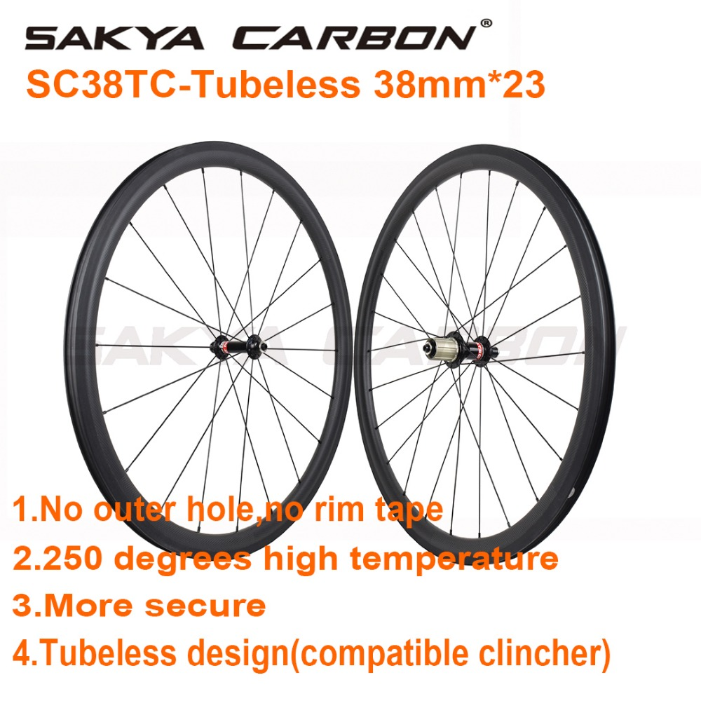 No outer holes 700C 38mm tubeless carbon wheels 23mm wide road bike wheels 250 degree high