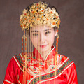 Chinese Traditional Hair Jewelry Classical Bride Coronet Retro Hairwear Gilded Butterflies Imitation Pearl Tassel frontlet