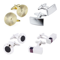 Wholesale a Lot/ 4 PCS Metal Cufflinks Top Quality Trendy Cuff Set For mens Shirt Wedding Cuff links with Free Box