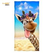 HUGSIDEA Giraffe Selfie 3D Design Beach Towel Super Absorbent Home Textile Bath Face Hair Towels for Cute Kids Soft Sport Toalla