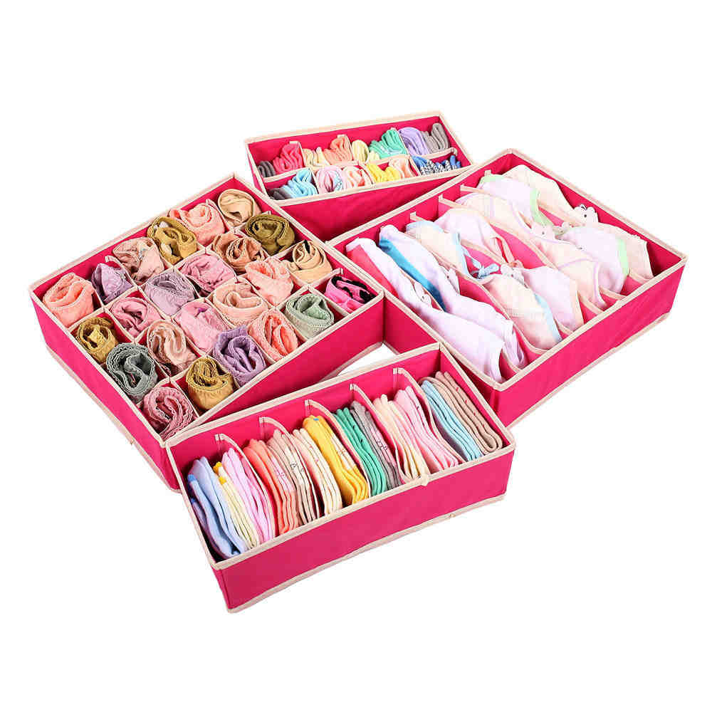 4PCS Non Woven Rose Red Storage Box Container Drawer Divider Closet Boxes  Ties Socks Bra Underwear