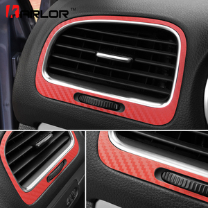 Carbon Fiber Film Auto Air Condition Outlets Panel Decoration Sticker Decal Car Styling For Volkswagen VW Golf 6 MK6 Accessories