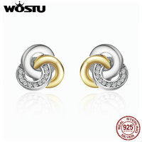WOSTU Real 925 Sterling Silver Interlinked Circles Stud Earrings For Women Luxury Fine Jewelry Gift FBS511